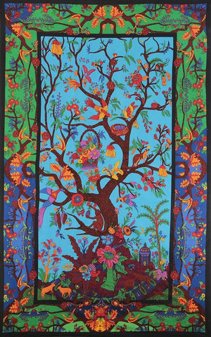 Handmade 100% Cotton 3D Tree of Life Multicolor Tapestry Tablecloth Spread 60x90 - Sweet Us