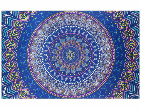 Handmade Cotton Taino Mandala Tapestry Wall Art Beach Sheet 60x90 inches Blue - Sweet Us
