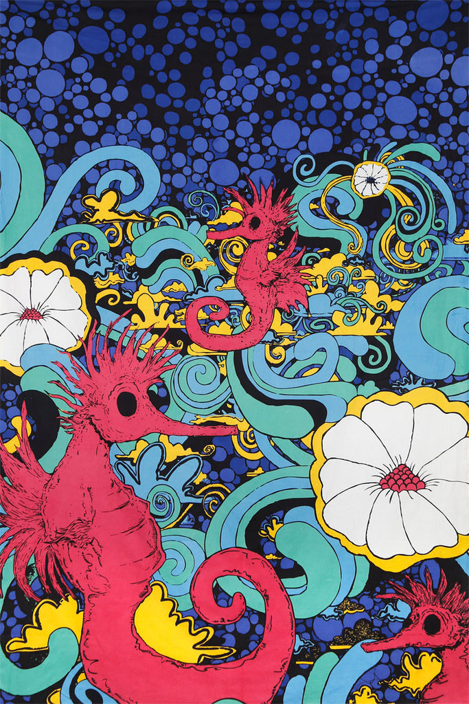 Handmade 100% Cotton 3D Psychedelic Seahorse Under Sea Party Tapestry Tablecloth Beach Sheet 60x90 - Sweet Us