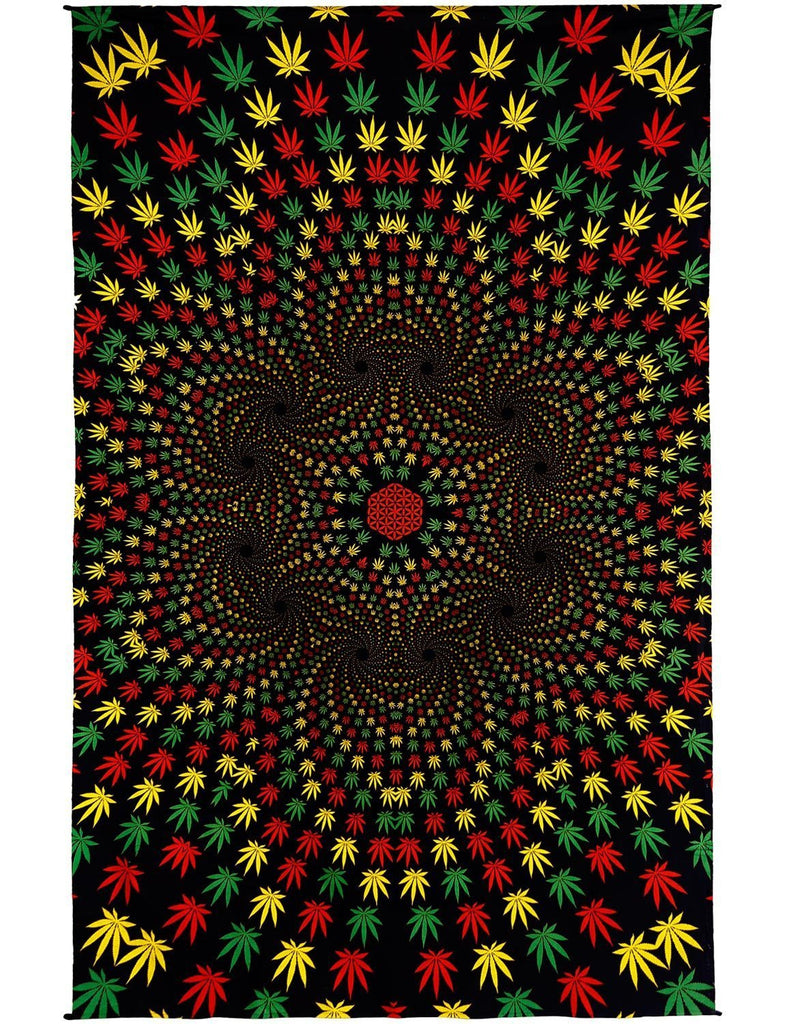 Handmade 100% Cotton 3D Weed Vortex Rasta Tapestry Tablecloth Beach Sheet 60x90 - Sweet Us