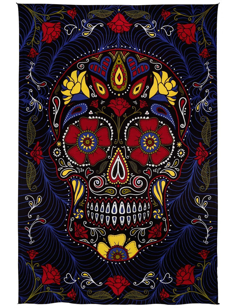 Handmade Cotton 3D Sugar Skull Tapestry Wall Art Beach Sheet 60x90 Inches Blue - Sweet Us