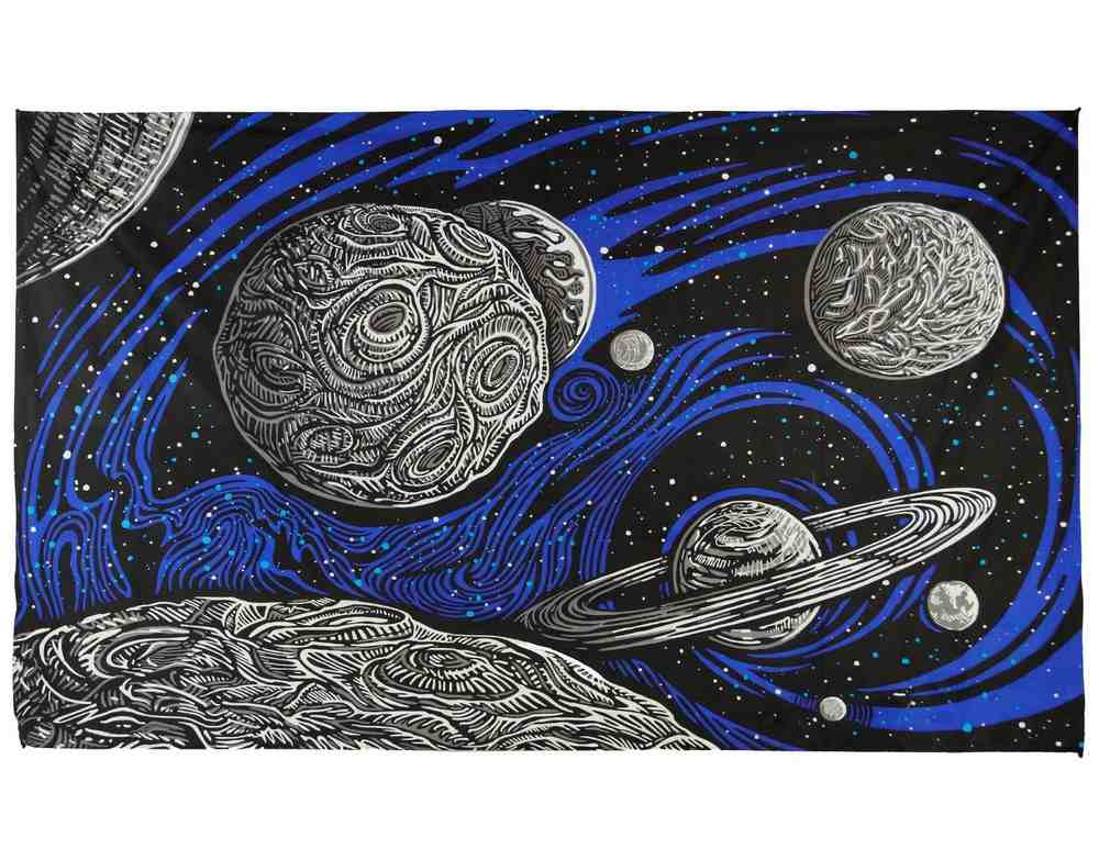3D Outer Space Galactic Planetary Celestial Tapestry Wall Hang Cotton Beach Dorm - Sweet Us