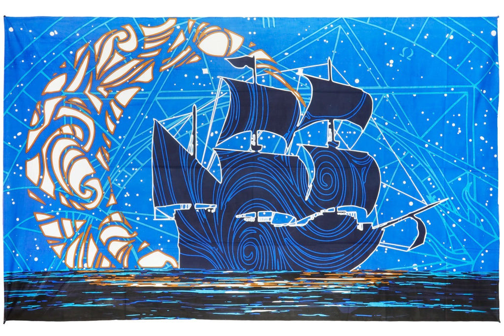 Cotton 3D Glow in the Dark Moon Ship Tapestry Wall Hanging Beach Sheet 60x90 - Sweet Us