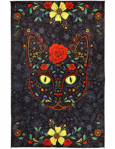 3D Sugar Kitty Tapestry Wall Hanging Huge Day Of The Dead Beach Sheet 60x90 Inches - Sweet Us