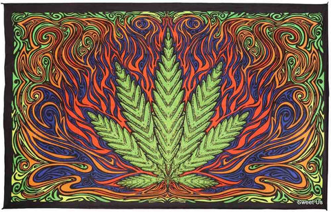 3D Hot Leaf Tapestry Bohemian Marijuana Wall Hanging Cotton Pot Art 60x90 Inches
