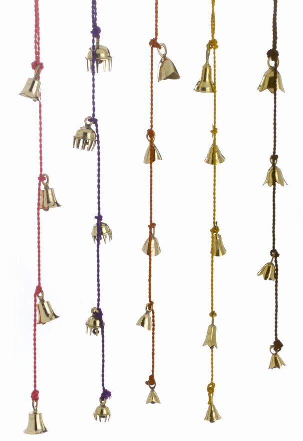 Amazing Chime of 4 to 10 Brass Bells 1.5 to 2.5 Inches High on Six Colorful Strings - Sweet Us