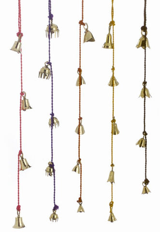 Amazing Chime of 4 to 10 Brass Bells 1.5 to 2.5 Inches High on Six Colorful Strings