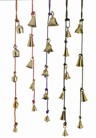 Amazing Chime of 4 to 6 Brass Bells 1.75 to 3 Inches High on Six Colorful Strings