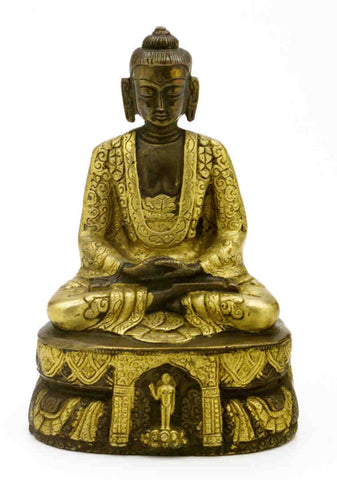 "Antique Brass Seated Buddha Shakyamuni Statue 7"" High Amitabha Budhism Figure - Sweet Us"