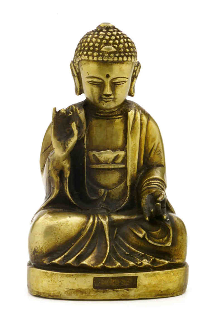 "Antique Brass Seated Buddha Shakyamuni Statue 7.5"" High Amitabha Budhism Figure - Sweet Us"