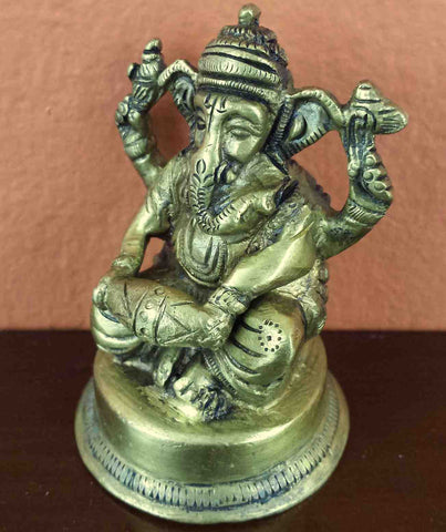 "Seated Lord Ganesha Antique Brass Statue 2.75"" High Brass Figurine Sculpture Hinduism Decor - Sweet Us"