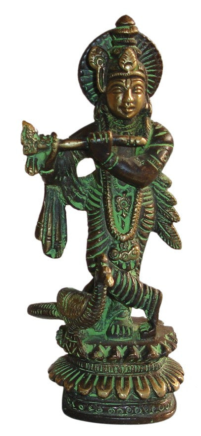 "Bronze Finish Lord Krishna Vishnu Avatar Brass Statue with Flute 5"" High Figurine Sculpture Hinduism Decor - Sweet Us"