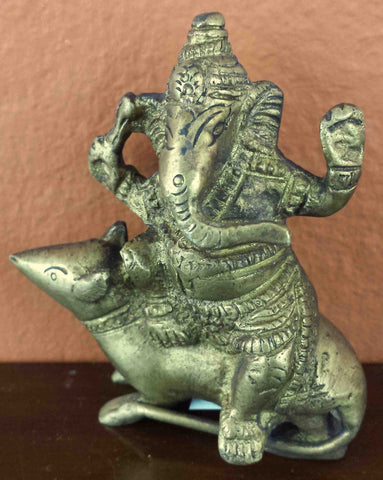 "Lord Ganesha Seated on a Mouse Antique Brass Statue 3.25"" High Brass Figurine Sculpture Hinduism Decor"