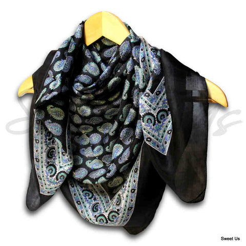 Large Scarf for Women Lightweight Soft Sheer Paisley Floral Silk Scarf Blue Red - Sweet Us
