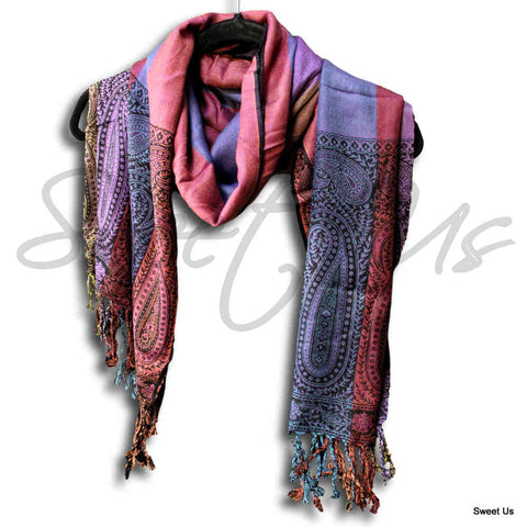 Large Scarf for Women Reversible Soft Paisley Floral Striped Rayon Scarf Shawl - Sweet Us