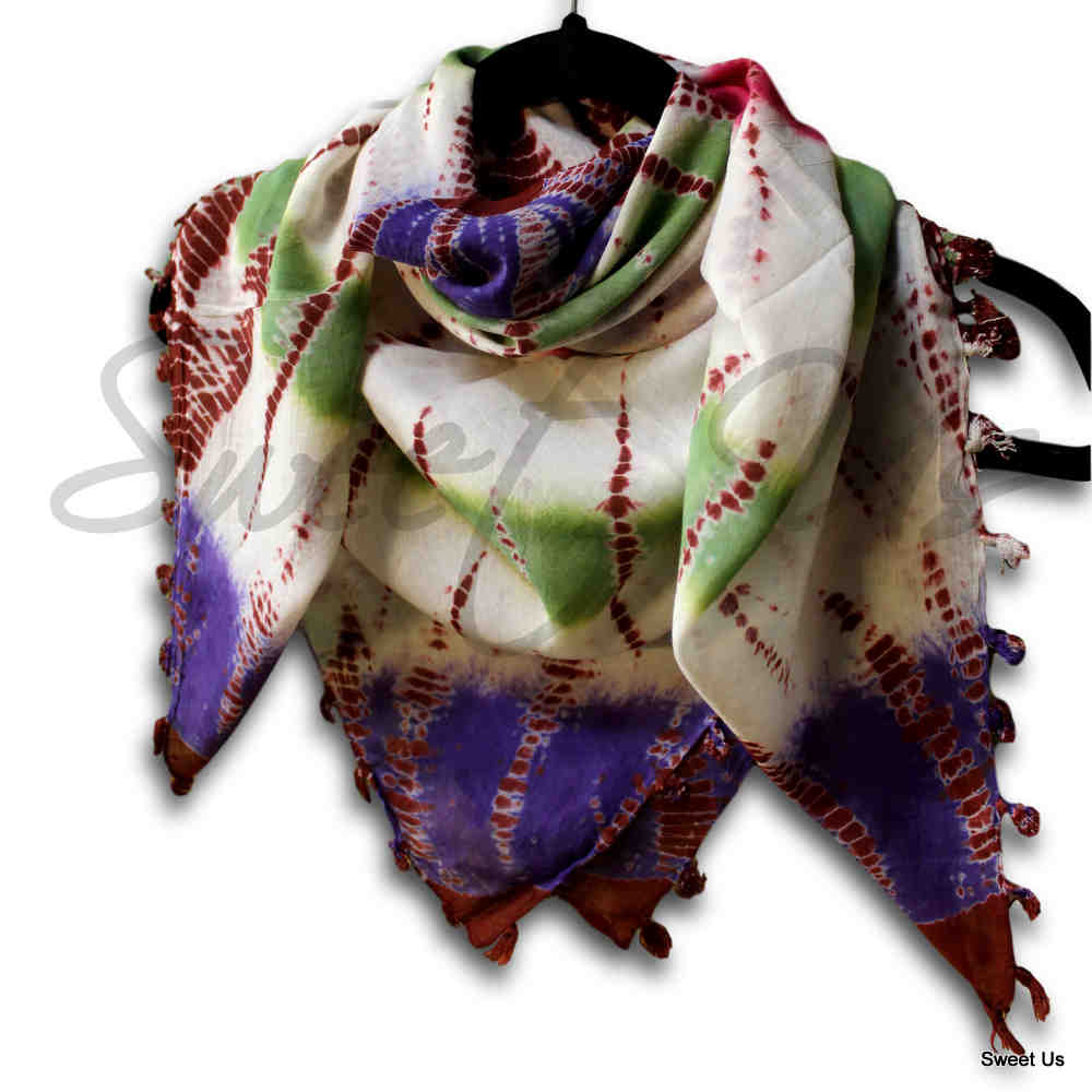 Scarf for Women Sheer Soft Cotton Tie Dye 42x42 Red Green Blue Yellow Purple