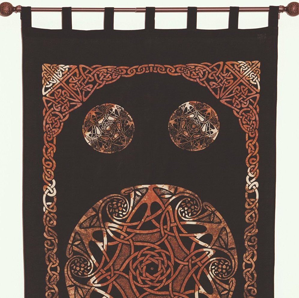 Unique Handmade Celtic Tab Top 100% Cotton Curtain Drape Panel Brown 44x88 - Sweet Us