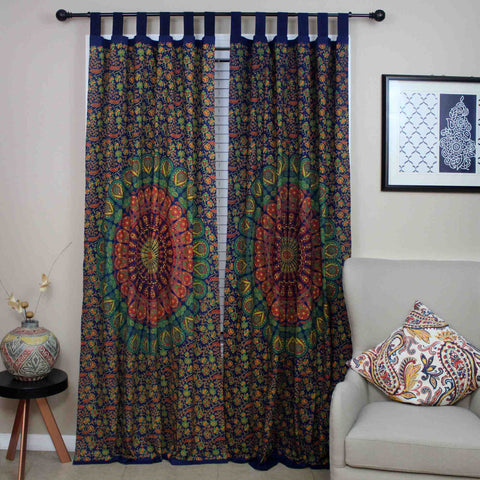 Sanganer Mandala Cotton Tab Top Peacock Floral Curtain Drape Panel 44xx88 - Sweet Us