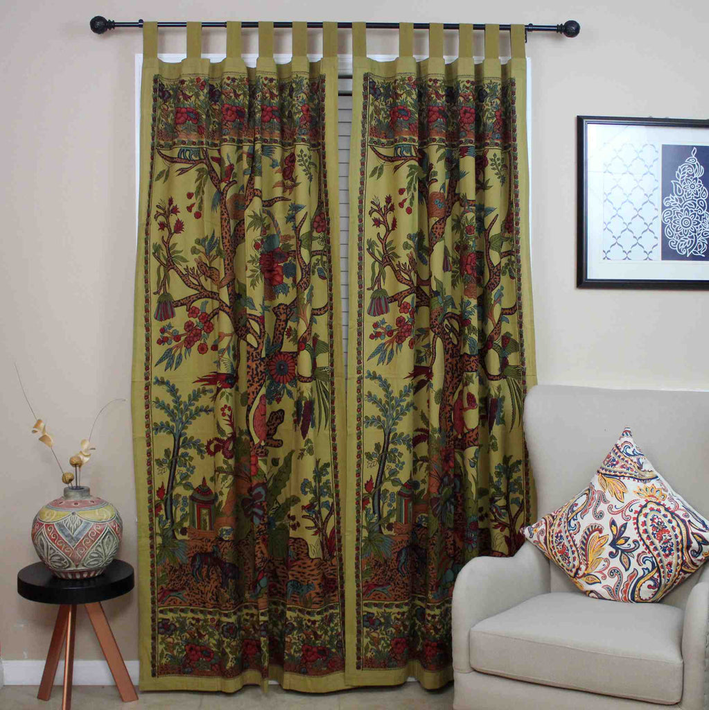 Cotton Tree of Life Tab Top Curtain Drape Door Panel 44x88 Gold Blue Purple Green Tan - Sweet Us