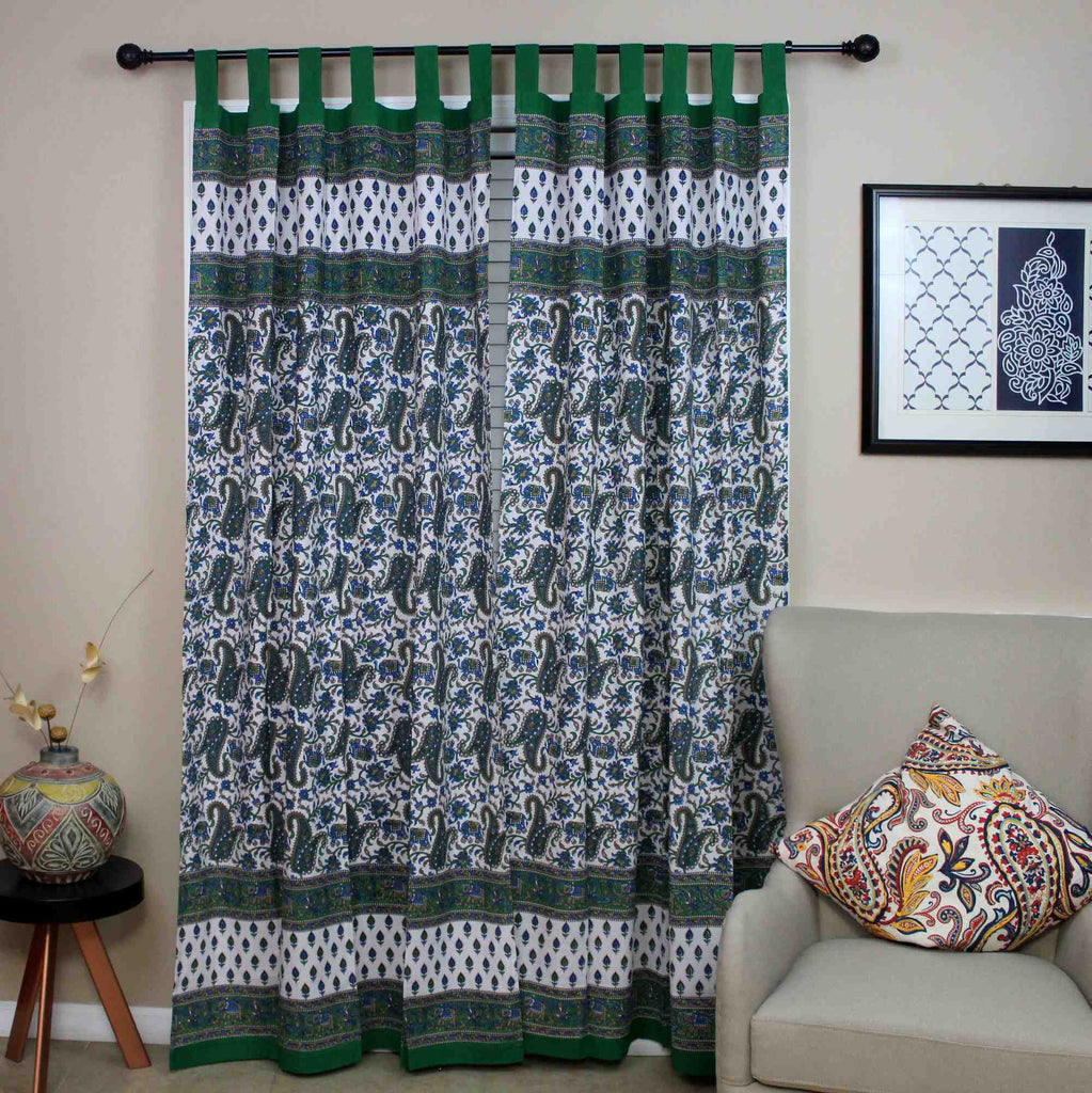 Handmade Paisley Elephant 100% Cotton Tab Top Curtain Drape Panel Green 44x88 - Sweet Us