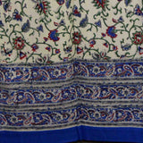 Handmade Paisley Floral Vine 100% Cotton Tab Top Curtain Drape Panel Blue 44x88 - Sweet Us
