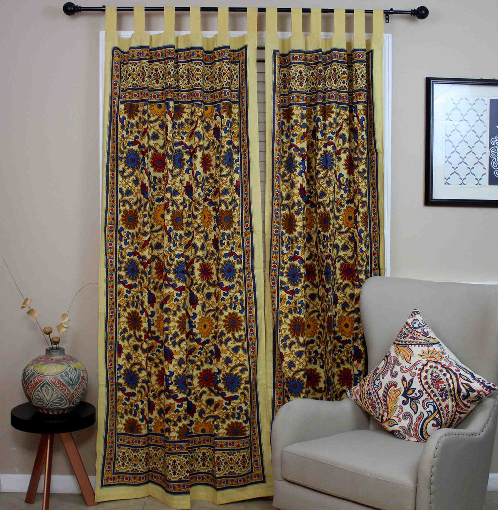 Sunflower Tab Top Cotton Curtain Drape Door Panel Window-Lemon Yellow - Sweet Us