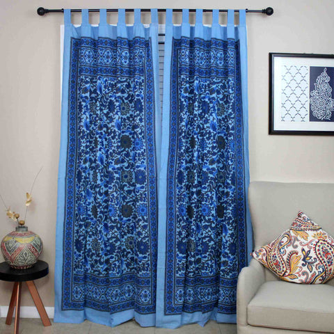Handmade 100% Cotton Sunflower Tab Top Curtain Drape Panel Gray Blue - Sweet Us