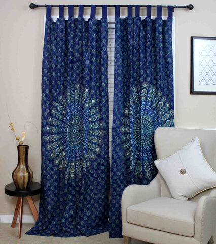 Handmade Sanganer Peacock 100% Cotton Tab Top Curtain Drape Panel 44x88 Blues - Sweet Us