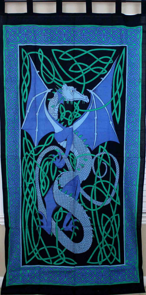 Celtic Dragon Tab Top Cotton Curtain Drape Panel Blue Red Green 44x88 inches - Sweet Us