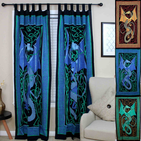 Celtic Dragon Tab Top Cotton Curtain Drape Panel Blue Red Green 44x88 inches