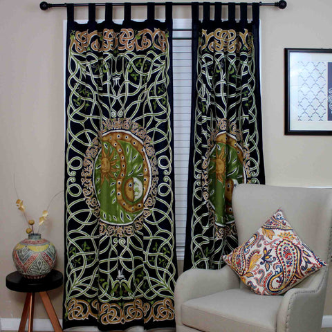 Handmade Celtic Yin Yang Curtain 100% Cotton Drape Copper Green 44x88 Inches - Sweet Us