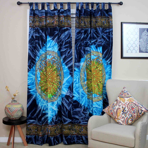 Handmade 100% Cotton Celtic Wheel of Life Batik Curtain Drape Panel Blue 44x88 - Sweet Us