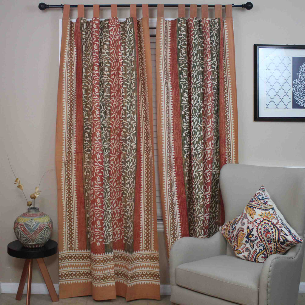 Handmade 100% Cotton Tab Top Curtain Drape Panel Floral Vine Olive Rust 44x88 - Sweet Us
