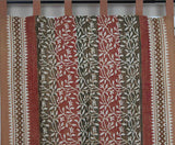Handmade 100% Cotton Tab Top Curtain Drape Panel Floral Vine Olive Rust 44x88