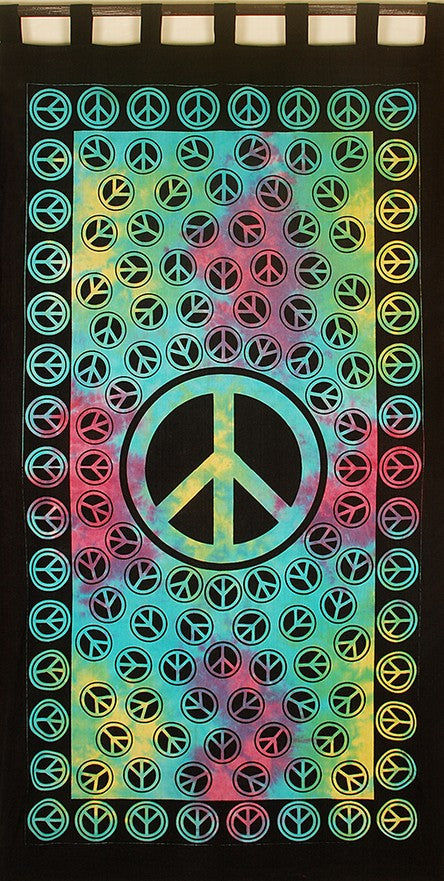 Cotton Tie Dye Peace Curtain Drape Panel 44 x 84 Inches