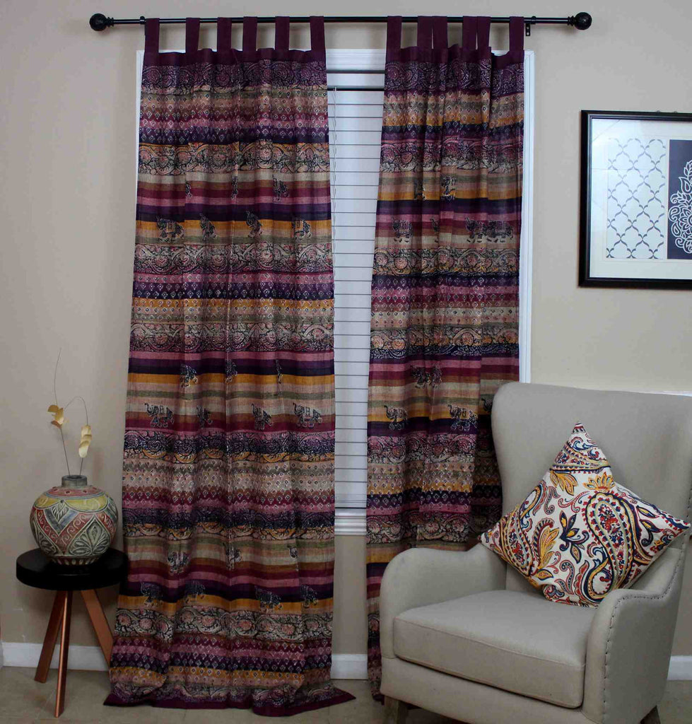 Unique Handmade Cotton Tab Top Curtain Drape Panel Paisley Good Luck Elephant - Sweet Us