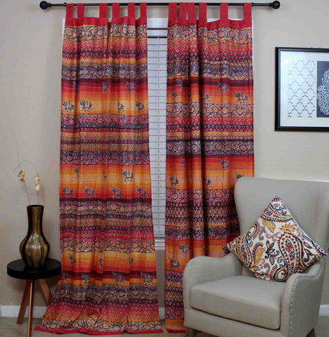 Unique Handmade Tab Top Curtain 100% Cotton Drape Panel Good Luck Elephant Print - Sweet Us