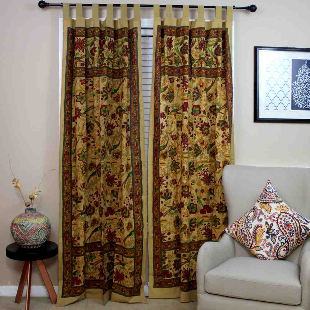 Handmade 100% Cotton Birds of Paradise Tab Top Curtain Drape Panel Mustard 44x88