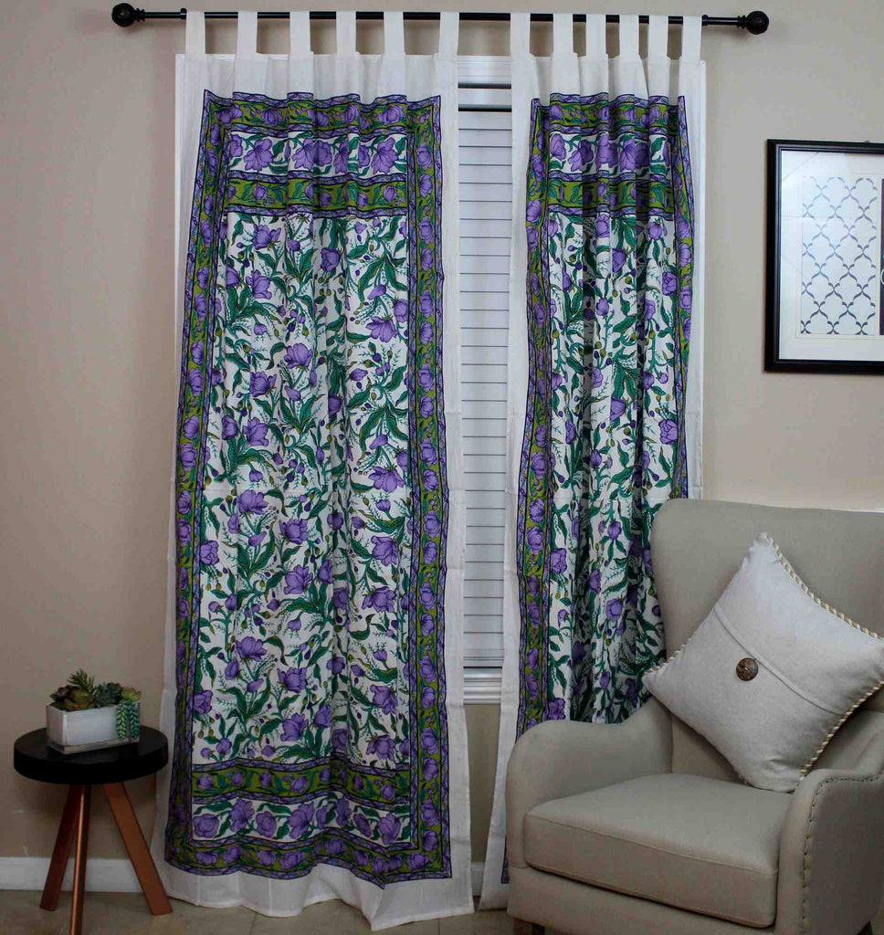 Handmade 100% Cotton French Floral Tab Top Curtain Drape Door Panel Blue Violet - Sweet Us