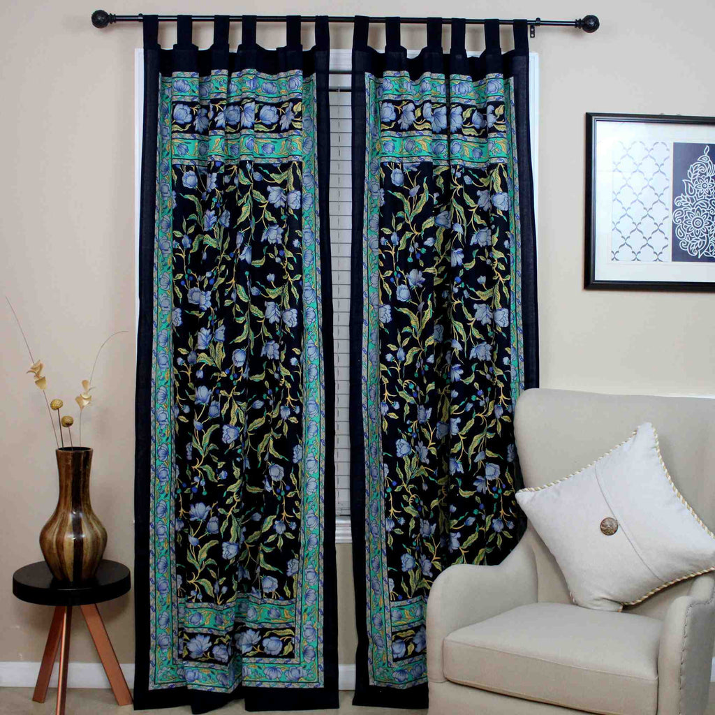 Handmade French Floral Tab Top Curtain 100% Cotton Drape Door Panel Black Blue - Sweet Us