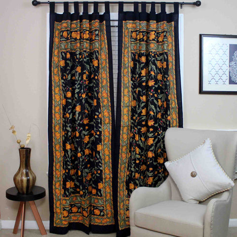 Handmade French Floral Tab Top Curtain 100% Cotton Drape Door Panel Black Amber - Sweet Us