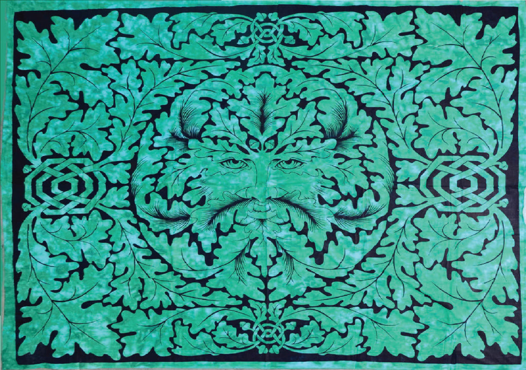 Handmade Cotton Celtic Greenman Tapestry Tablecloth Bedspread Green Single - Sweet Us
