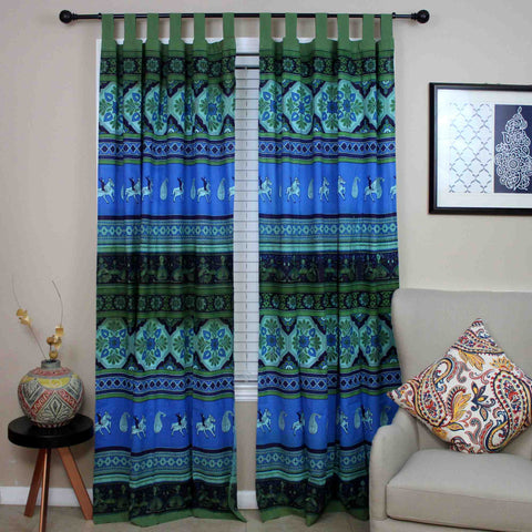 Handmade 100% Cotton Kalamkari Floral Tie Dye Tab Top Curtain Drape Panel 44x88 Blue Green - Sweet Us