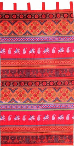 Handmade 100% Cotton Kalamkari Floral Tie Dye Tab Top Curtain Drape Panel 44x88 Red - Sweet Us