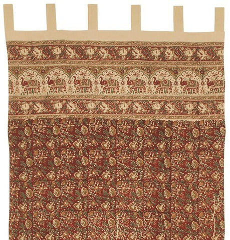 Handmade Cotton Hand Block Elephant Print Tab Top Curtain Drape 44x88 Burgundy