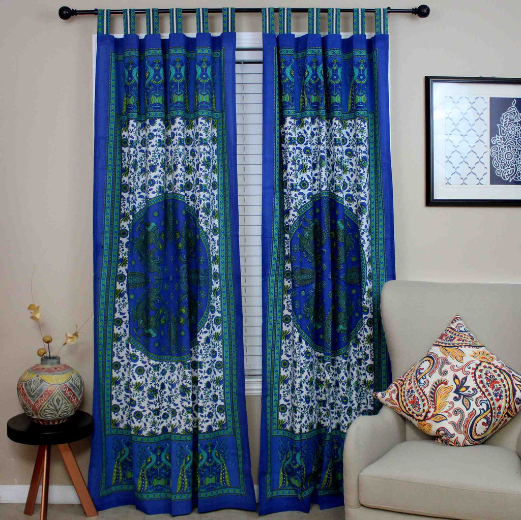 Handmade Peacock Floral Tab Top Curtain Cotton Panel Drape Blue 44 x 88 inches - Sweet Us