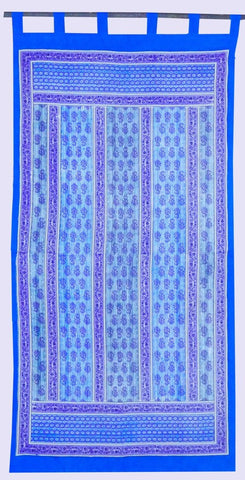 Handmade Floral Vine Striped 100% Cotton Tab Top Curtain Drape Panel Blue 44x88