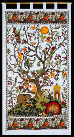 Tab Top Cotton Curtain White Tree of Life Drape Door Panel 44x88 inches