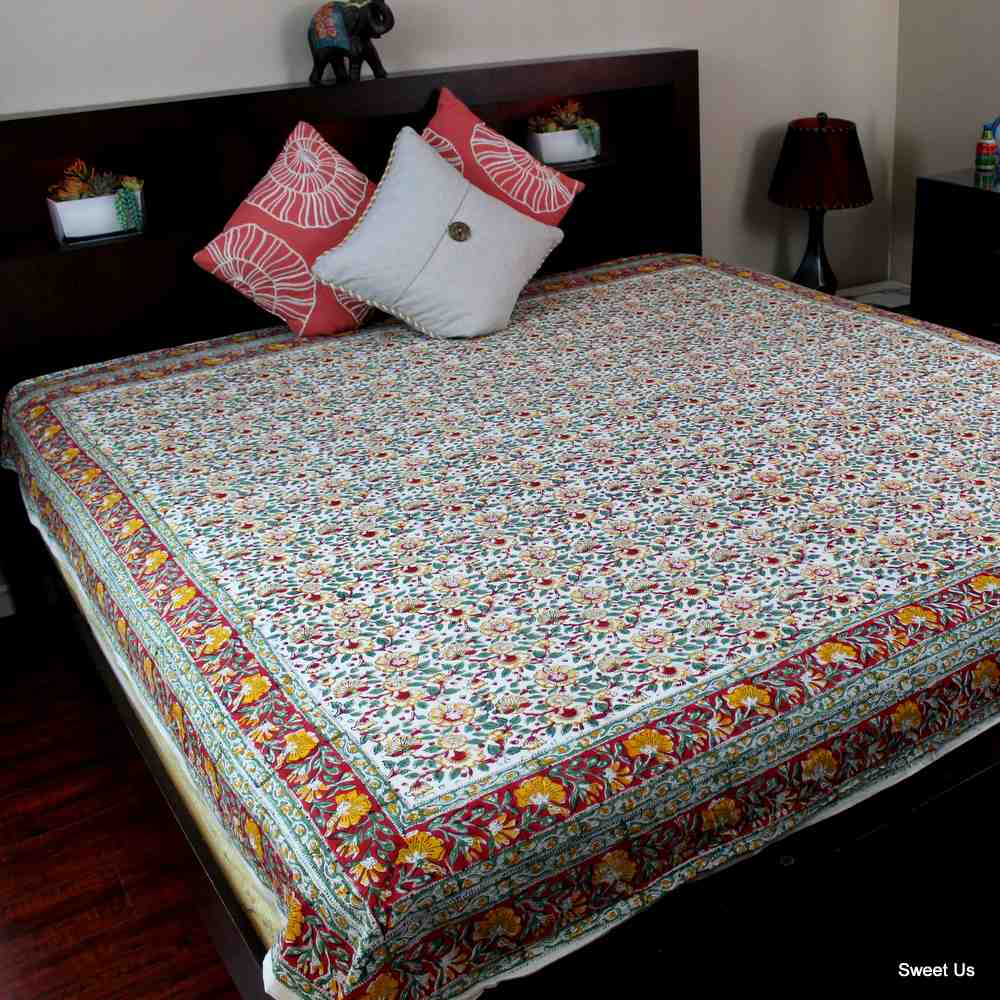Cotton Reversible Block Print Duvet Cover Floral Full Red Green Yellow Blue