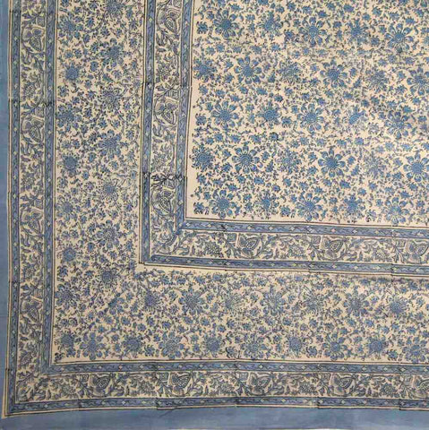 Cotton Daisy Chain Floral Block Print Tapestry Tablecloth Blue Full